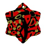Red artistic design Snowflake Ornament (2-Side) Front