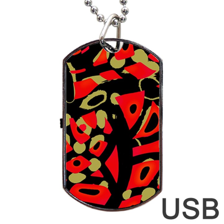 Red artistic design Dog Tag USB Flash (One Side)