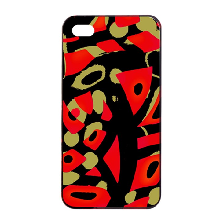Red artistic design Apple iPhone 4/4s Seamless Case (Black)