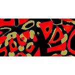Red artistic design PARTY 3D Greeting Card (8x4) Back