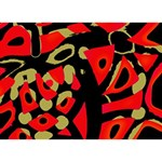 Red artistic design THANK YOU 3D Greeting Card (7x5) Back