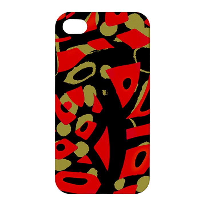 Red artistic design Apple iPhone 4/4S Premium Hardshell Case
