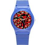 Red artistic design Round Plastic Sport Watch (S) Front