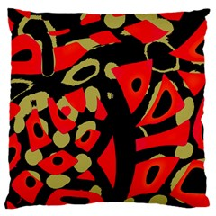 Red Artistic Design Large Cushion Case (one Side)