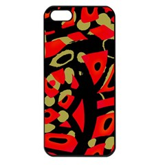 Red Artistic Design Apple Iphone 5 Seamless Case (black) by Valentinaart
