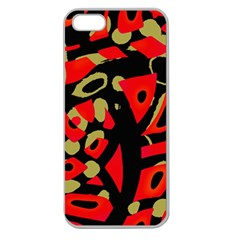 Red Artistic Design Apple Seamless Iphone 5 Case (clear) by Valentinaart