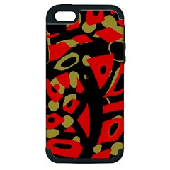 Red Artistic Design Apple Iphone 5 Hardshell Case (pc+silicone) by Valentinaart