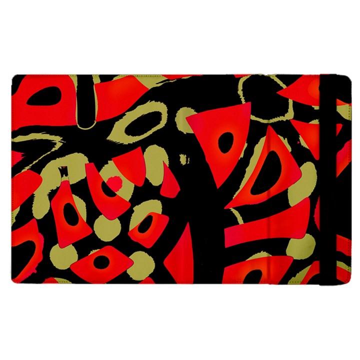 Red artistic design Apple iPad 2 Flip Case