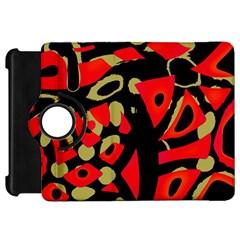 Red artistic design Kindle Fire HD Flip 360 Case