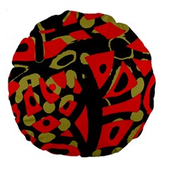 Red Artistic Design Large 18  Premium Round Cushions