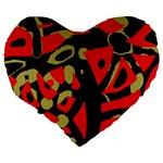 Red artistic design Large 19  Premium Heart Shape Cushions Back