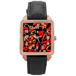 Red artistic design Rose Gold Leather Watch  Front