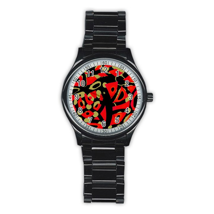 Red artistic design Stainless Steel Round Watch