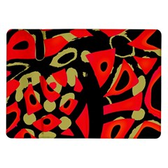Red Artistic Design Samsung Galaxy Tab 10 1  P7500 Flip Case