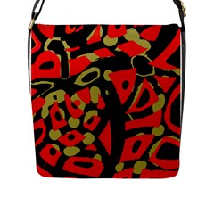 Red Artistic Design Flap Messenger Bag (l)  by Valentinaart
