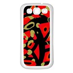 Red artistic design Samsung Galaxy S3 Back Case (White) Front