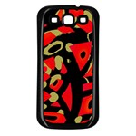 Red artistic design Samsung Galaxy S3 Back Case (Black) Front
