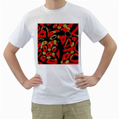 Red Artistic Design Men s T Shirt (white)