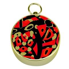 Red Artistic Design Gold Compasses