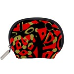 Red artistic design Accessory Pouches (Small)  Front