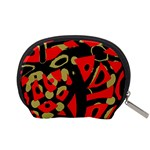 Red artistic design Accessory Pouches (Small)  Back