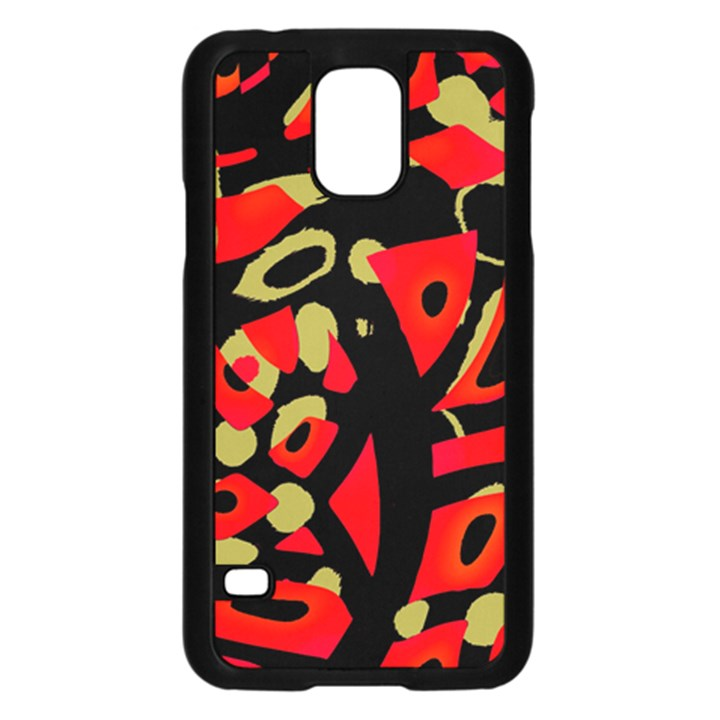 Red artistic design Samsung Galaxy S5 Case (Black)
