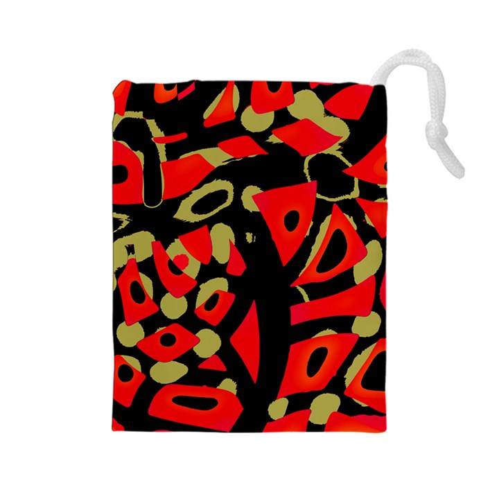 Red artistic design Drawstring Pouches (Large)