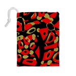 Red artistic design Drawstring Pouches (Large)  Back