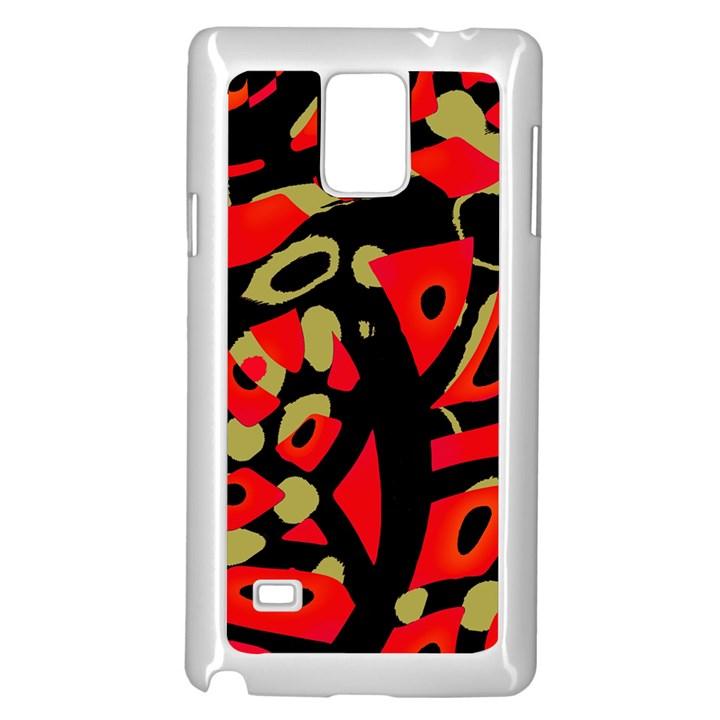 Red artistic design Samsung Galaxy Note 4 Case (White)