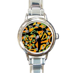 Abstract Animal Print Round Italian Charm Watch by Valentinaart