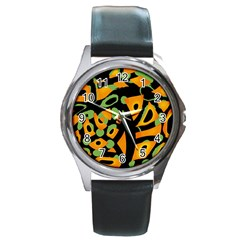 Abstract Animal Print Round Metal Watch by Valentinaart