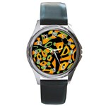 Abstract animal print Round Metal Watch Front
