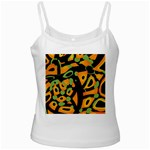 Abstract animal print White Spaghetti Tank Front