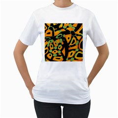Abstract Animal Print Women s T Shirt (white) (two Sided)