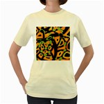 Abstract animal print Women s Yellow T-Shirt Front