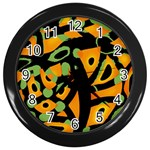 Abstract animal print Wall Clocks (Black) Front