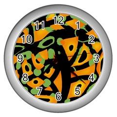 Abstract animal print Wall Clocks (Silver)