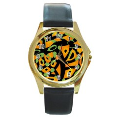 Abstract Animal Print Round Gold Metal Watch by Valentinaart