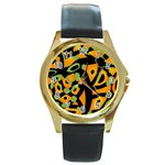 Abstract animal print Round Gold Metal Watch Front
