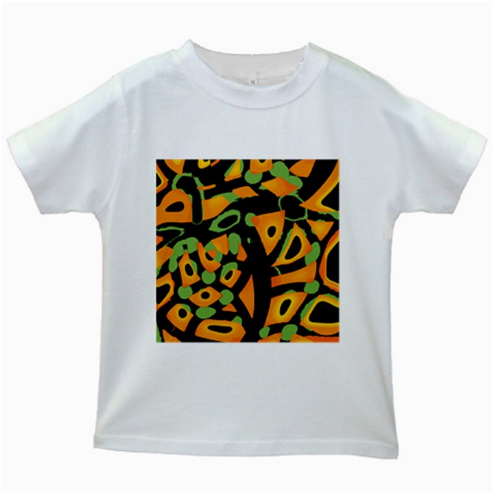 Abstract animal print Kids White T-Shirts