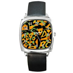 Abstract Animal Print Square Metal Watch by Valentinaart
