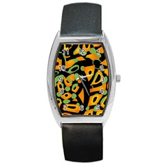 Abstract Animal Print Barrel Style Metal Watch by Valentinaart
