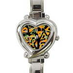 Abstract animal print Heart Italian Charm Watch Front
