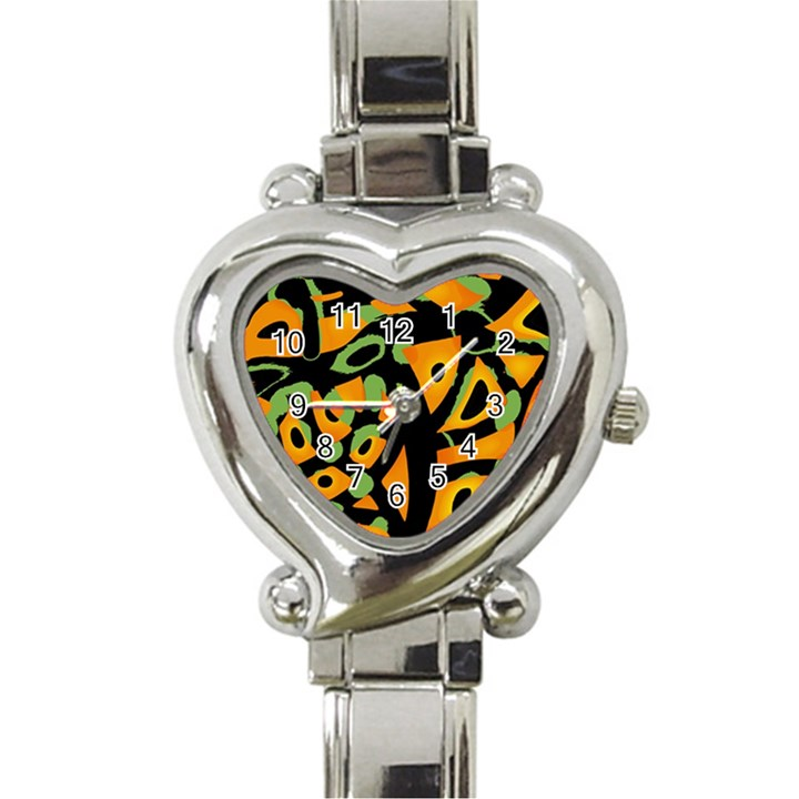 Abstract animal print Heart Italian Charm Watch