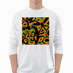 Abstract Animal Print White Long Sleeve T Shirts
