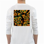 Abstract animal print White Long Sleeve T-Shirts Back