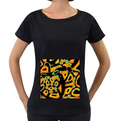Abstract animal print Women s Loose-Fit T-Shirt (Black)