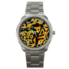 Abstract Animal Print Sport Metal Watch by Valentinaart