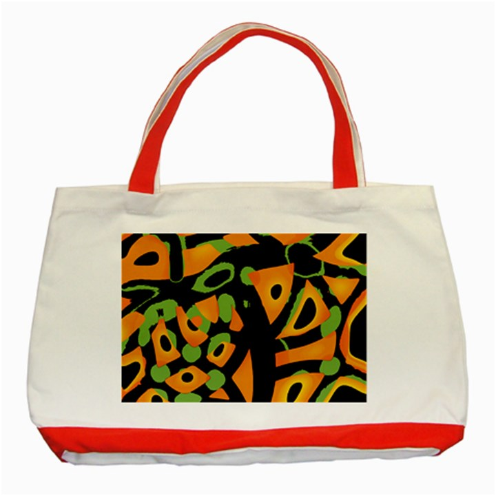 Abstract animal print Classic Tote Bag (Red)