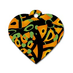 Abstract Animal Print Dog Tag Heart (one Side) by Valentinaart
